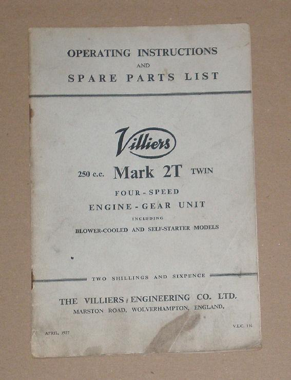 Villiers Spare Parts List-250c c Mark 2T Twin  Four Speed Engine