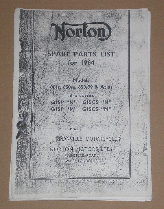 Norton Spare Parts List for 1964 Mod  88S, 650 SS 650/99