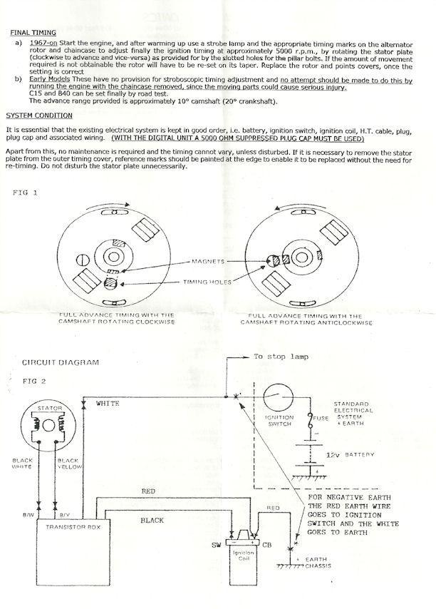 boyer electronic ignition triumph, bsa 1-cylinder mk iv 12v