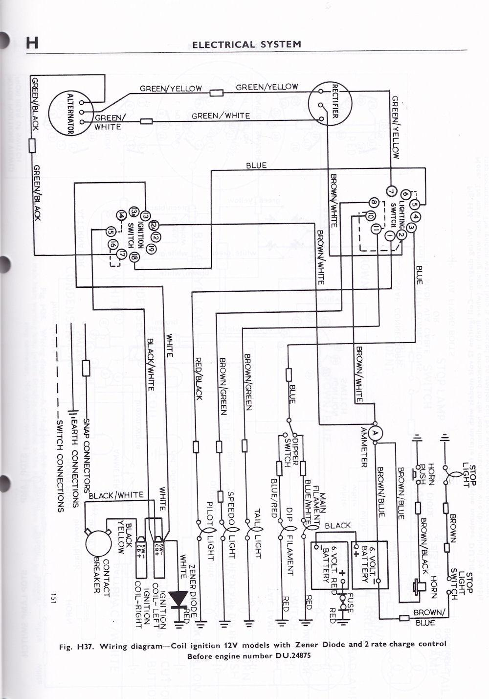 wiring diagram triumph 6t, tr6, t120 1963 70 british only Triumph Boat Ignition Switch Wires