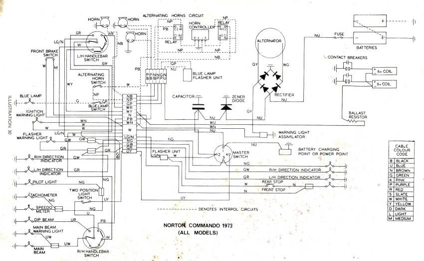 Wiring Diagram Norton Commando All Mod  1973
