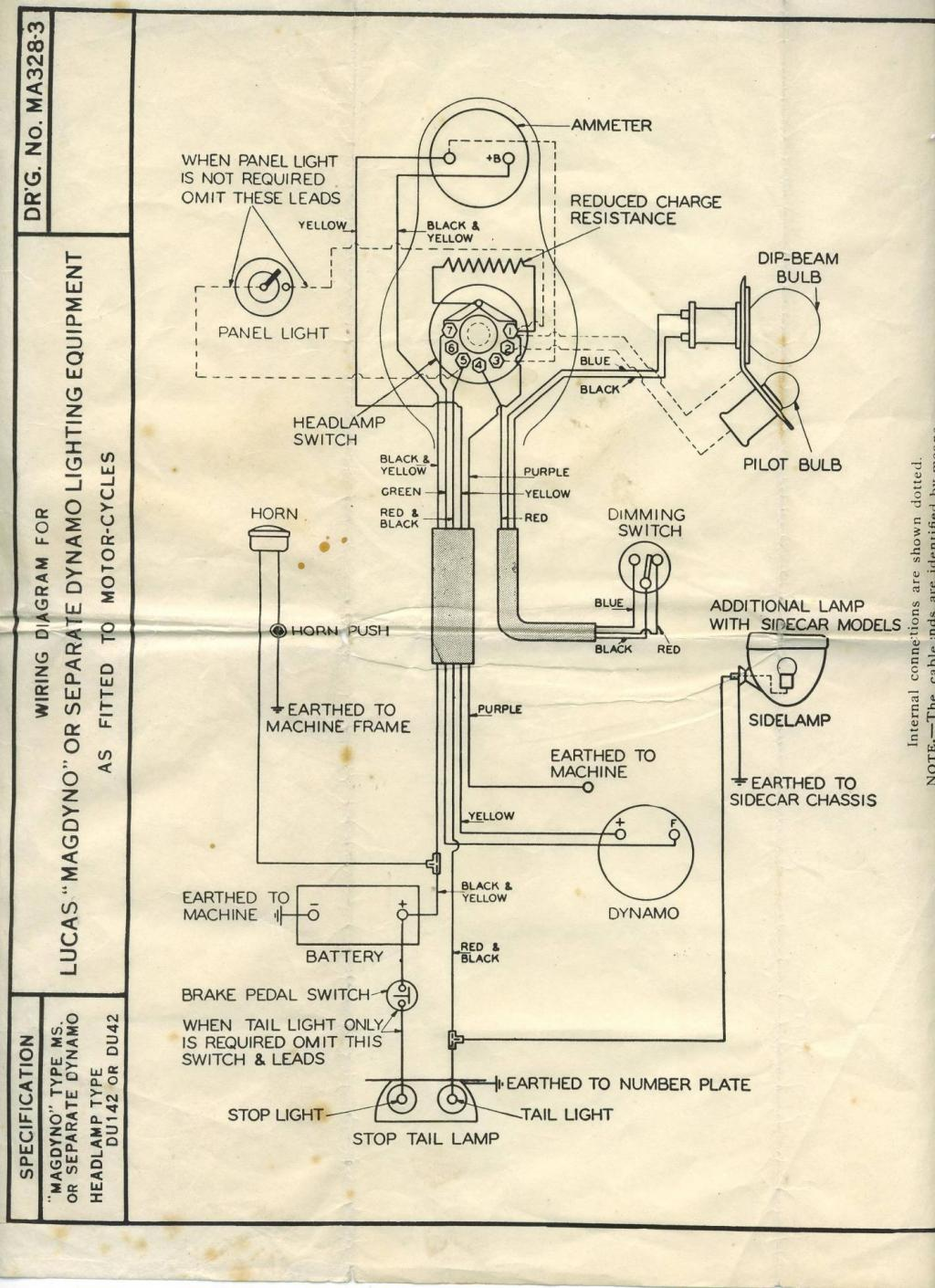 Wiring Diagram F  Lucas Magdyno Or Sep  Dynamo  Du142  Du42