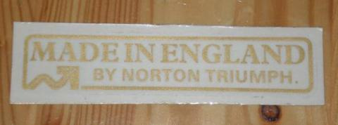 Made in England by Norton Triumph Sticker