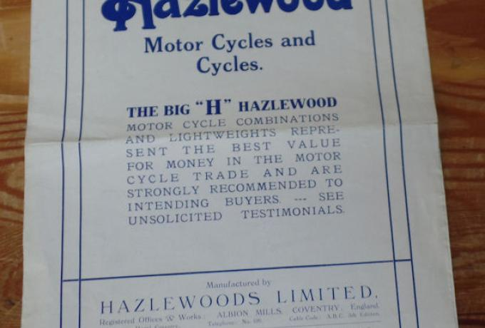 "Hazlewood Motor Cycles and Cycles, The Big ""H"" Hazlewood, 1922, Brochure"