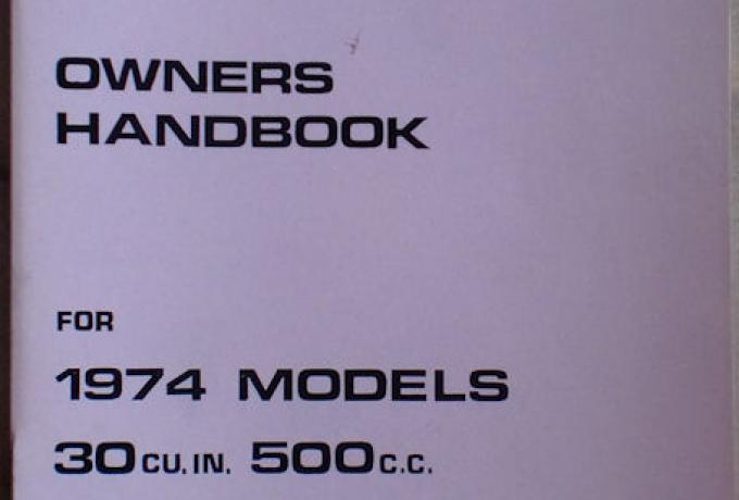 Owners Handbook for Triumph 1974 U.K & General Export Edition