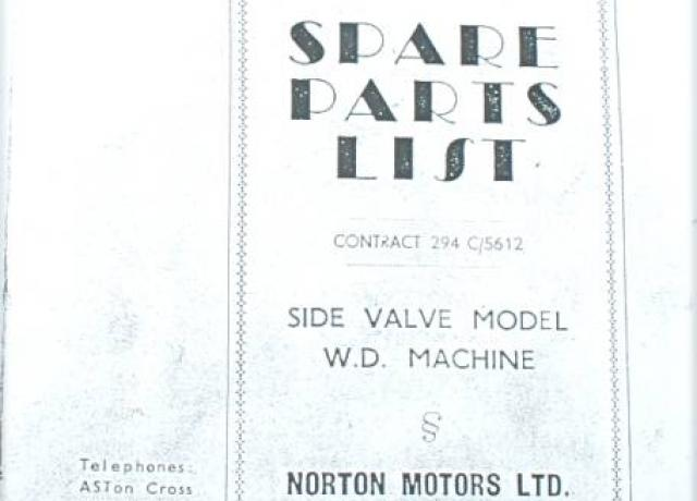 Norton Spare Parts List/Book SV Mod. 16H, Photocopy