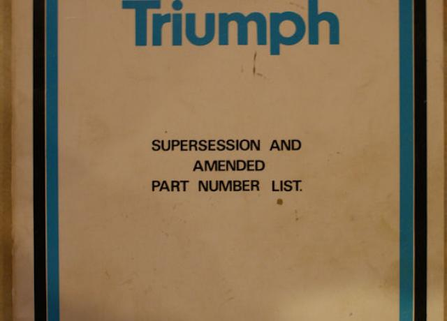 Norton Triumph supersession and amended part number list