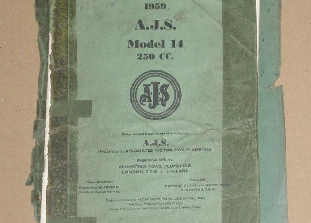 AJS Spares List 1959 'Models 14' 250cc