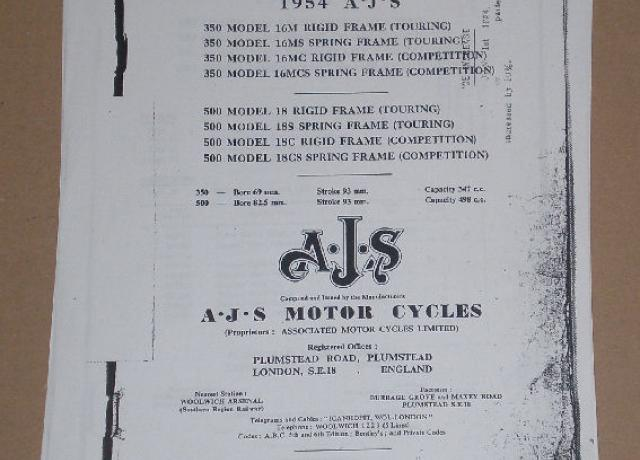 AJS Spares List For 1954 Motor Cycles 350 & 500ccm