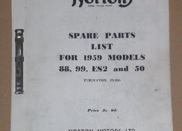 Norton Spare Parts List 1959 Models 88,99,ES2 & 50