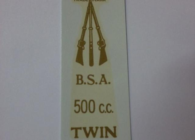 BSA 500cc Twin Transfer for rear number plate from 1946