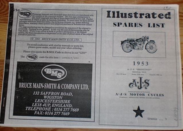 "AJS Illustrated Spares List 1953 AJS ""Springtwin"" vertical twin"