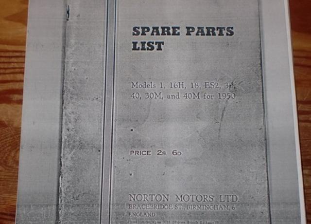 Norton Spare Parts List Models 1, 16H, 18, ES2, 30, 40, 30M and 40M for 1950, Copy