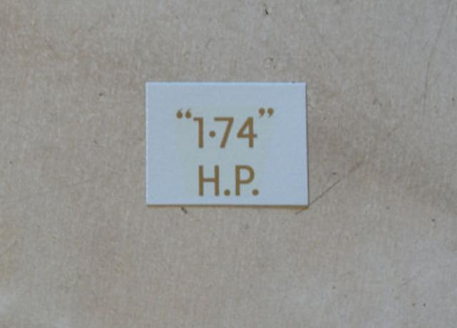 "BSA ""1.74"" H.P. Transfer for rear Number Plate 1928-30"