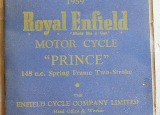 "Royal Enfield ""Prince"" Spare Parts List 1959"