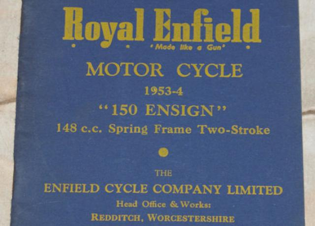 A list of spare and replacement parts for the Royal Enfield motor cycle 1953-54