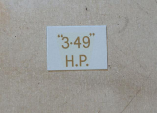 "BSA ""3.49"" H.P. Transfer for rear Number Plate 1927-36"
