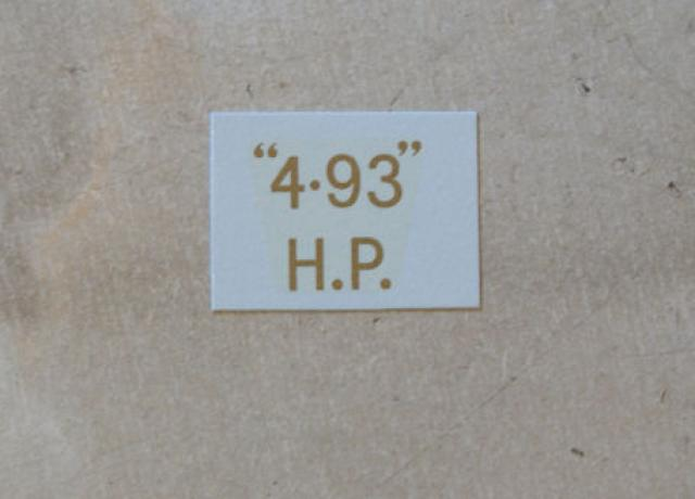 "BSA ""4.93"" H.P. Transfer for rear Number Plate 1927-32"