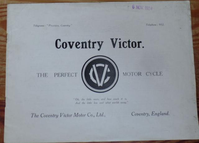 Coventry Victor, The Perfect Motor Cycle, 1924, Brochure