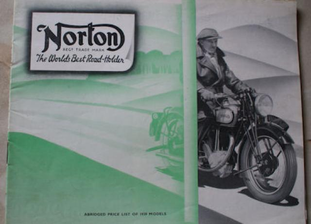 "Norton ""Abridged Price List of 1939 Models"""