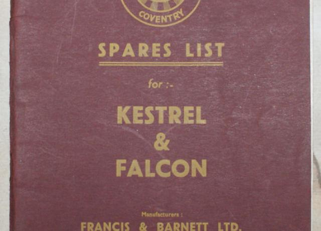 Spares list for Kestrel & Falcon