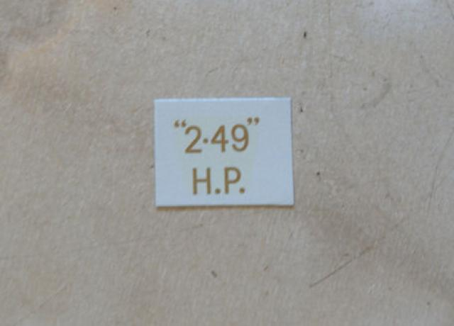 "BSA ""2.49"" H.P. Transfer for rear Number Plate 1927-36"