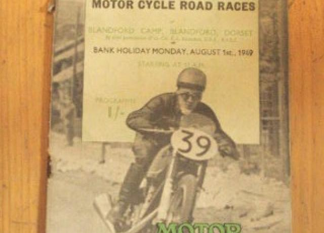 Official Programme Motorcycle Road Races Blandford Camp