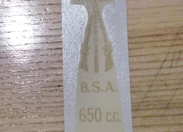BSA 650cc Twin Transfer for rear number plate from 1946
