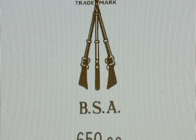 BSA 650cc Transfer for rear number plate from 1946