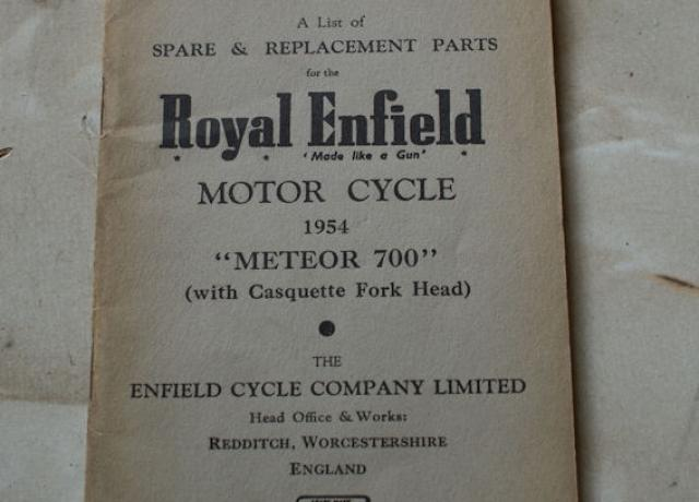"A List of Spare & Replacement Parts of the Royal Enfield Motor Cycle 1954 ""Meteor 700"""