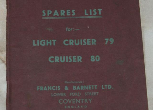 Francis Barnett Spares list for Light Cruisader 79, Cruiser 80 parts book