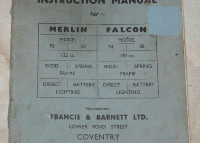 Francis Barnett instruction manual for Merlin models 52-57 and falcon models 54-58