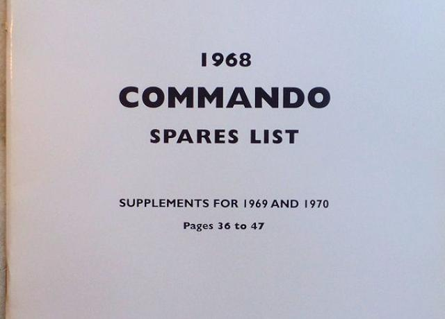 Norton Commando Spares List 1968